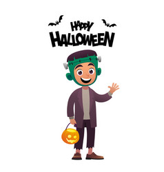 cartoon character child in costume frankenstein vector image