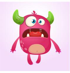 Cartoon pink monster vector