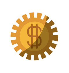 Colorful silhouette of pinion with money symbol vector