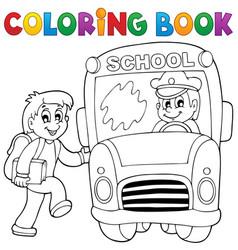 Coloring book school bus theme 2 vector