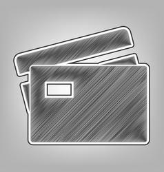 Credit card sign pencil sketch imitation vector