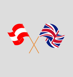 Crossed and waving flags austria and uk vector