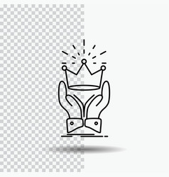 Crown honor king market royal line icon on vector