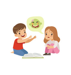 Cute little boy and girl reading a scary book vector