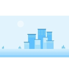 Design flat winter city of silhouette vector image
