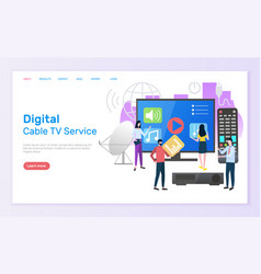 digital cable tv service people with television vector image
