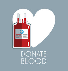Donate blood white heart bag care vector