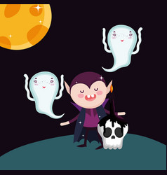 dracula ghost skull candles moon halloween vector image
