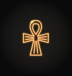 egyptian cross icon in glowing neon style vector image
