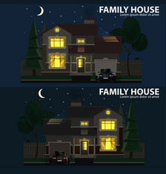 Family house at night 2 houses car and trees vector