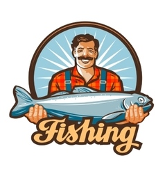 Fishing logo fisherman or fish icon vector