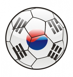 Flag of south Korea on soccer ball vector