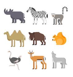 Flat style set of animals rhinoceros wolf lemur vector