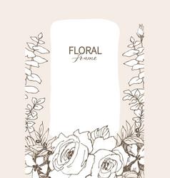 floral design frame linear roses vector image