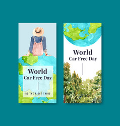 flyer template with world car free day concept vector image