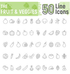 fruit and vegetables thin line icon set vegan vector image