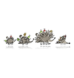 Funny hedgehog family sketch for your design vector