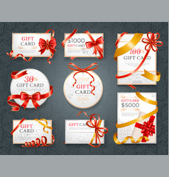 gift cards with red ribbon certificate on paper vector image