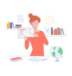 Girl teacher holds a textbook vector