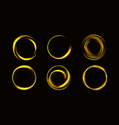 gold circles with sparkles golden round frames set vector image