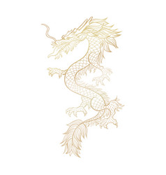 Gold outline chinese mythic dragon cut file vector