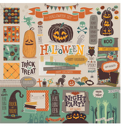 Halloween scrapbook set - decorative elements vector image