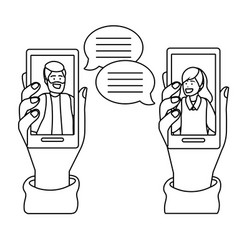 hands holding smartphone tech black and white vector image
