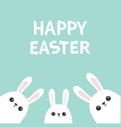 Happy easter three white bunny rabbit looking vector