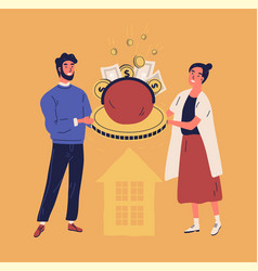 happy man and woman holding purse or wallet vector image