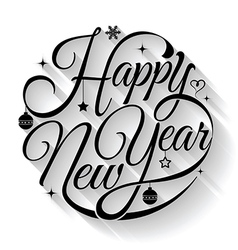 Happy new year text circle vector image