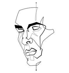 human male face single continuous line illu vector image