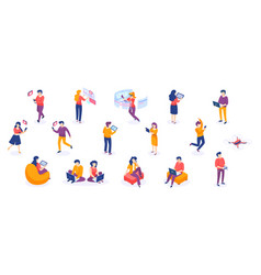 Isometric people and gadgets young men and women vector