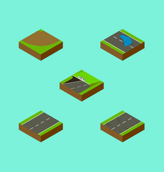Isometric road set of plash subway cracks and vector