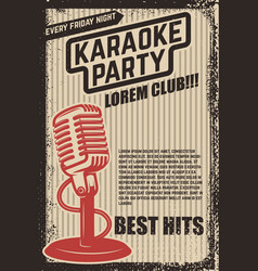 Karaoke party poster vintage microphone on grunge vector