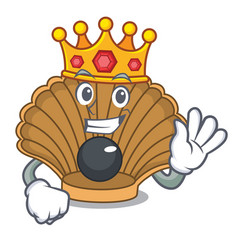 King shell with pearl mascot cartoon vector