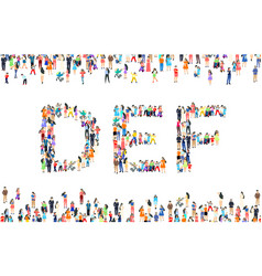 Large group people in letter d e f sign vector