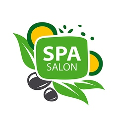 logo stones and leaves for spa salon vector image vector image
