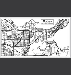 Madison usa city map in retro style outline map vector