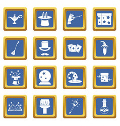 Magic icons set blue vector