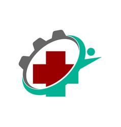 Medical health clinic machine logo template vector