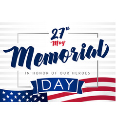 memorial day 27 may light stripes banner vector image