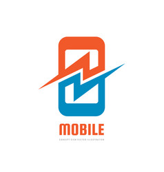 mobile phone with lightning power energy symbol vector image