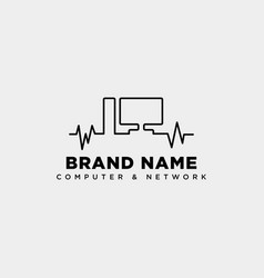 Monitor line digital technology logo template vector