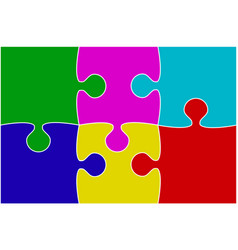 multu color piece puzzle jigsaw vector image