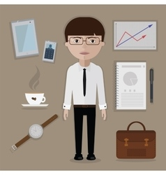Office worker and business tools things vector