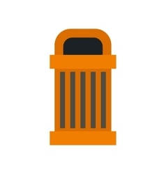 Orange outdoor bin icon flat style vector