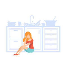 Overworked housewife tired of household duties vector