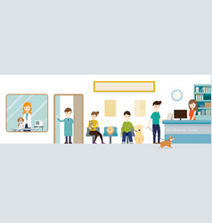 People in veterinary clinic vector