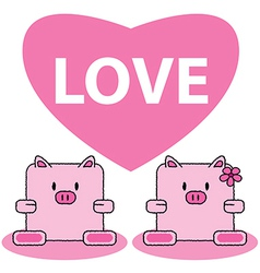 Pig in love vector