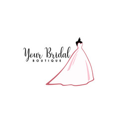 pink bridal boutique logo icon sign mannequin vector image